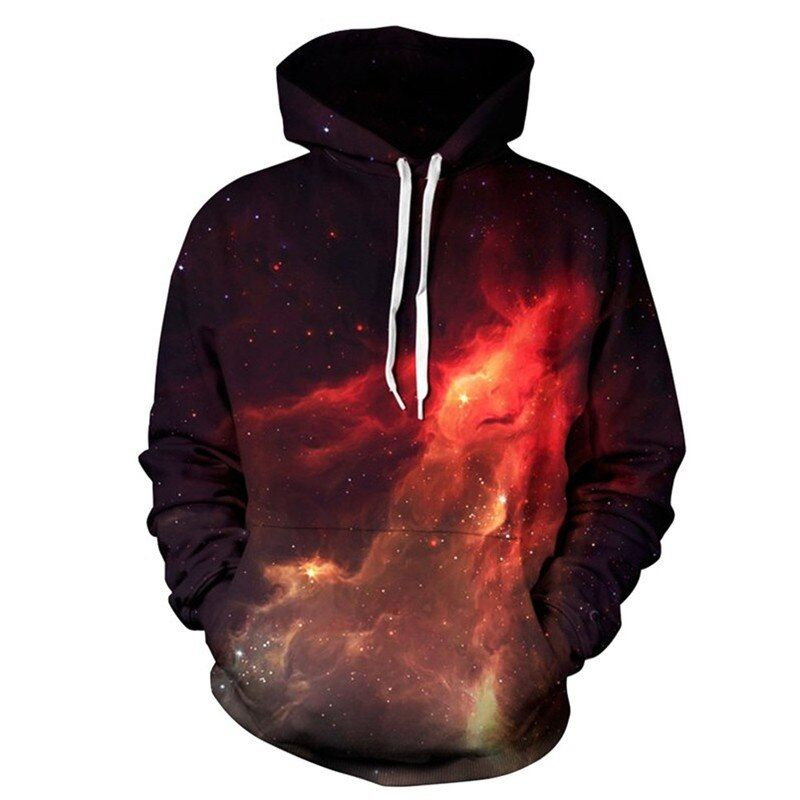 Men&Women Hoodies Galaxy Causal <font><b>Style</b></font> Sweatshirts 3D Print Fire Space Tracksuits Couple Streetwear Hip Pop Motorcycle Coat Tops