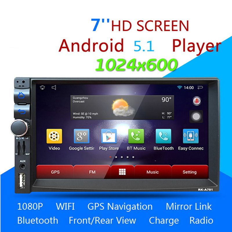 RK-A701 7inch 2Din Touch Screen Car Media Stereo Player Android 5.1.1 Quad-core GPS Navigation Handsfree Bluetooth MP5 Player