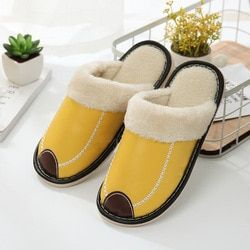 XN Winter couple cotton slippers men and women waterproof home indoor non-slip warm months PU leather slippers