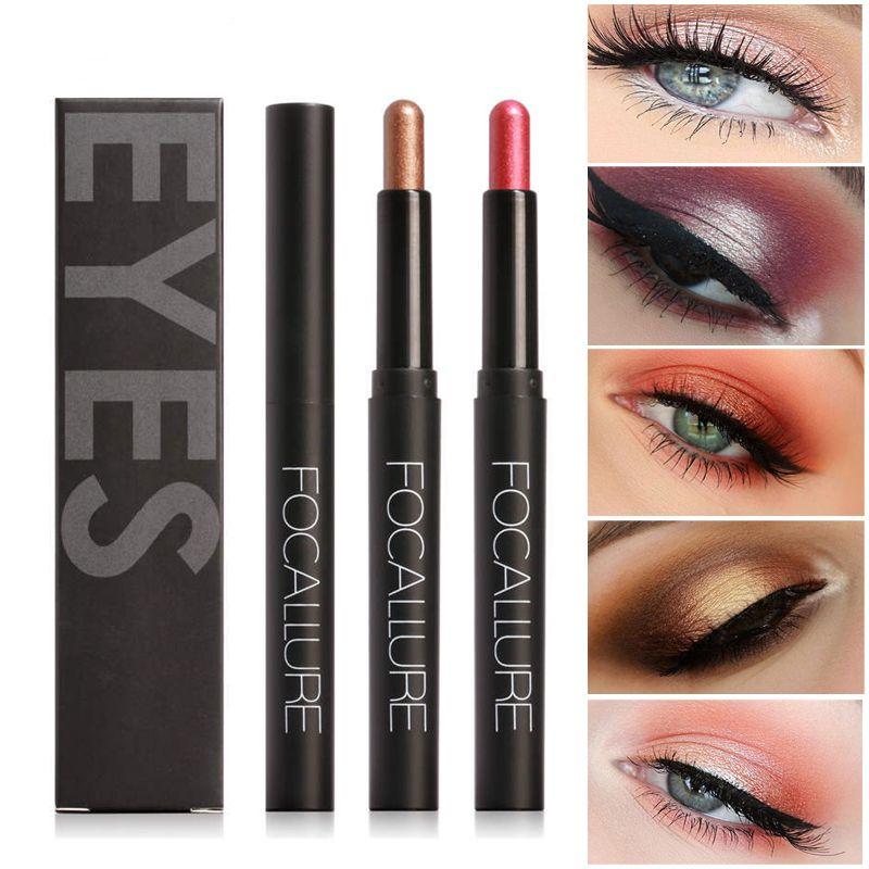12pcs/lot hot NEW FOCALLURE Beauty Highlighter Eyeshadow Pencil Cosmetic Glitter Metallic Eye Shadow Eyeliner Pen High quality