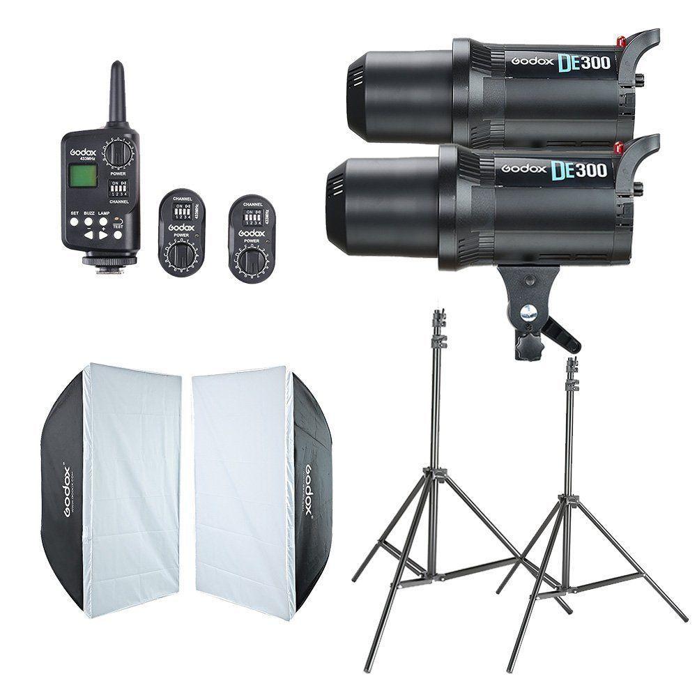 2x Godox DE300 Studio Flash + 60x90cm Softbox + FT-16 Trigger + Light Stand Kit