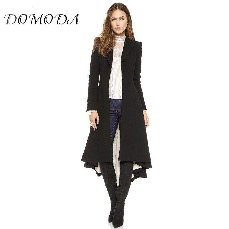 DOMODA Apparel Black Asymmetrical High Low Longline Coat Autumn Casual Loose Female Trench Coat V Neck Ruched Hem Women Trench
