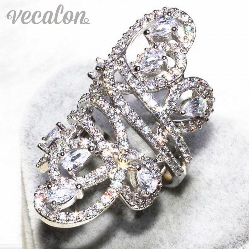 Vecalon Gorgeous line Wide ring Women Men Jewelry AAAAA Zircon Cz 925 Sterling Silver Engagement wedding Band ring Sz 5-11