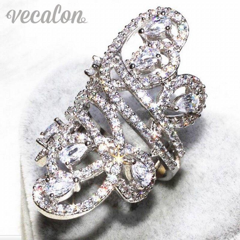 Vecalon Gorgeous line Wide ring Women Men Jewelry AAAAA Zircon Cz 925 Sterling Silver Engagement wedding Band ring Sz 5-11