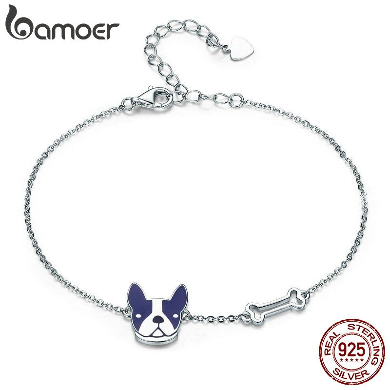 BAMOER Hot Sale 100% 925 Sterling Silver French Bulldog & Dog Bone Lobster Chain Link <font><b>Women</b></font> Bracelet Silver Jewelry SCB064
