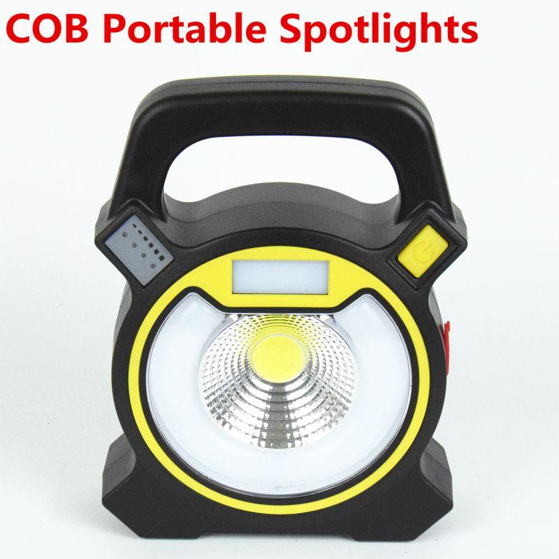 30 w led cob spotlight searchlight linterna recargable portátil de mano de alimentación por la batería 18650 de luz portátil para acampar