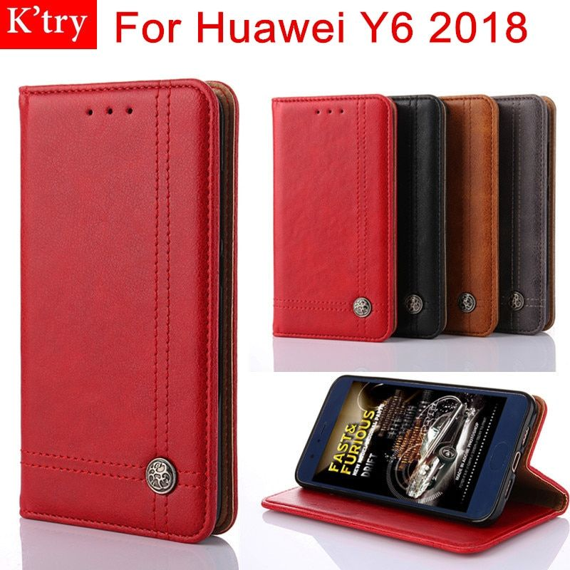 For Huawei Y6 2018 Case 5.7 Inch Leather Flip Case for Huawei Y6 2018 Wallet Stand Cover With Card Slots Without magnet