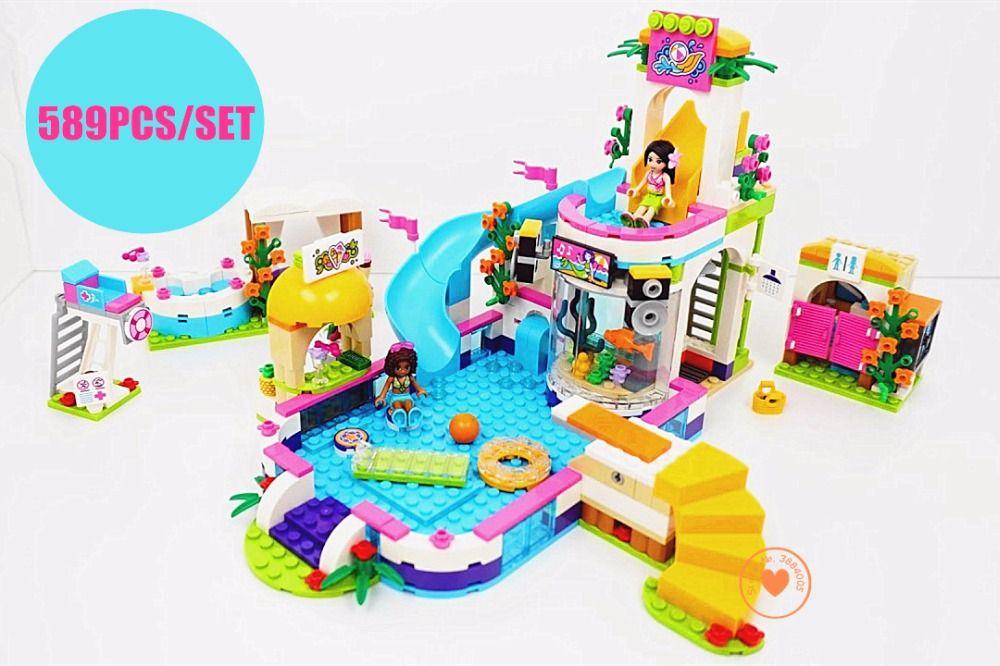 New Heartlake Girls club Summer Pool fit legoings friends figures <font><b>city</b></font> model Building block Bricks diy toys 41313 girl gift