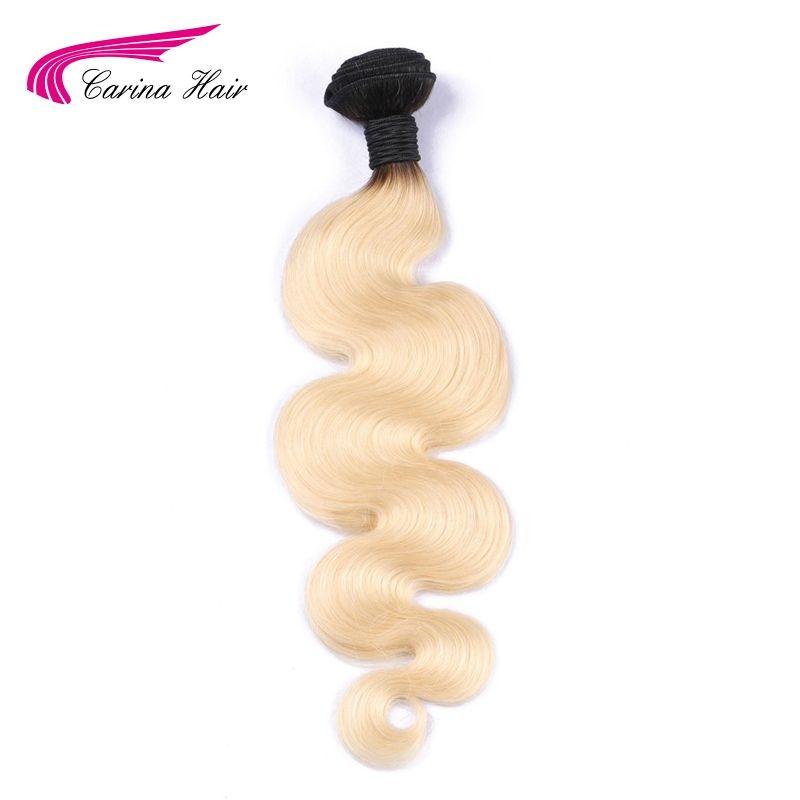 Carina T1b/613 Ombre cheveux blonds paquet 1 pièces 8 pouces-30 pouces racines sombres avec #613 vague de corps cheveux armure brésilienne Remy cheveux humains