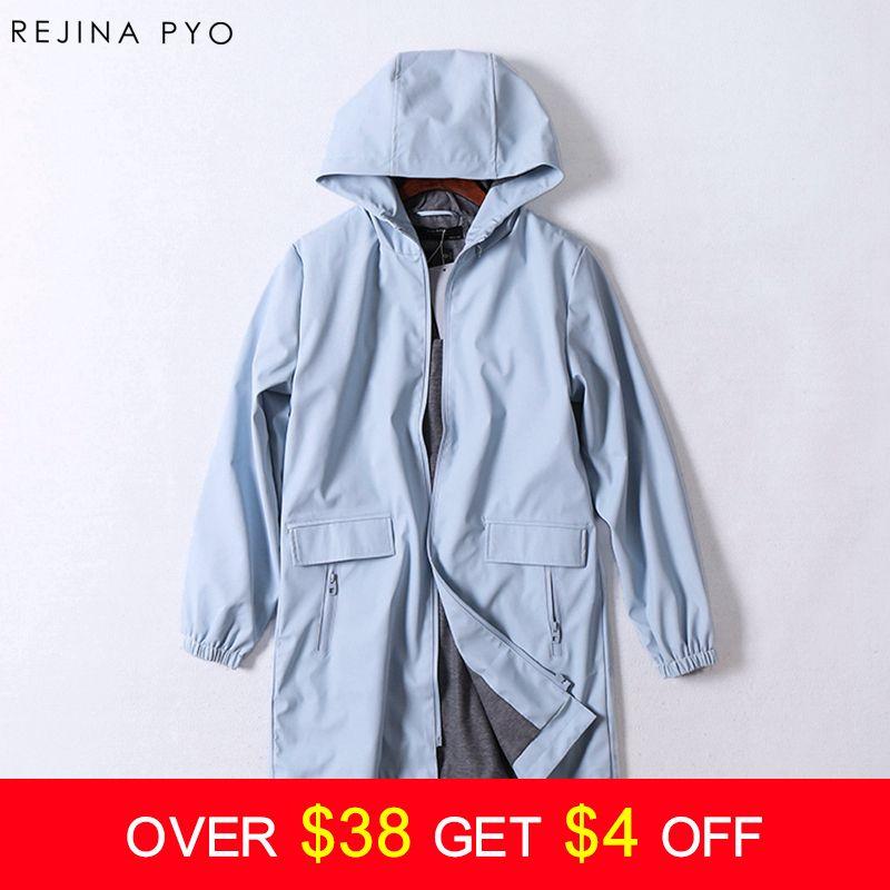 Rejina Pyo windproof rain-proof female PU Solid Pockets Hooded Trench classic slim long fashion women coat trench autumn
