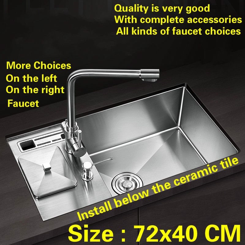 Free shipping kitchen manual sink single trough 304 food-grade stainless steel faucet is on the left and right hot sell 72x40 CM