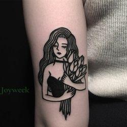 9 дизайнов водонепроницаемые временные татуировки наклейки для старой школы Лилия классная девушка тату наклейка s флэш-тату поддельные та...