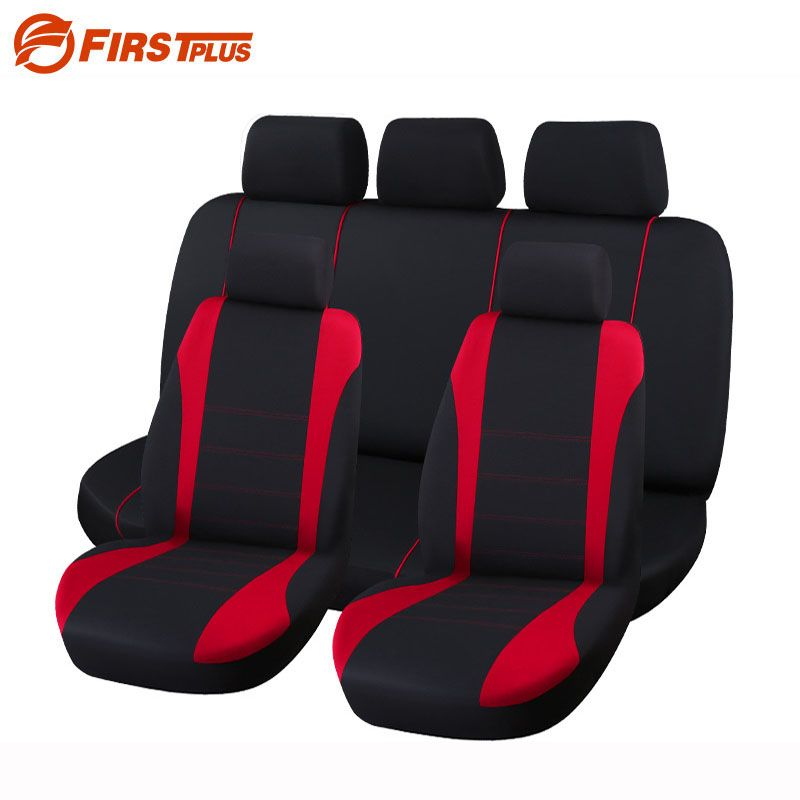 9 Set Full Seat Covers Universal Fit Elastic Polyester Car Crossovers Front Back Seat Cover Auto Chair Car Styling  Red Gray