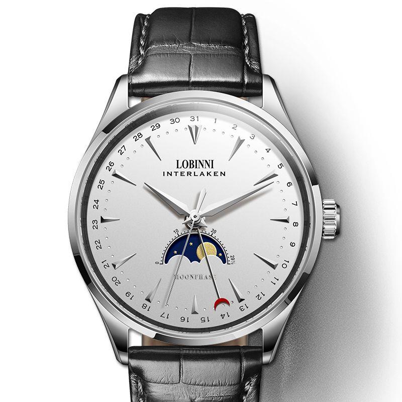Schweiz LOBINNI Männer Uhren Luxus Marke Mond Phase Auto Mechanische herren Uhr Sapphire Leder relogio masculino L16012-1