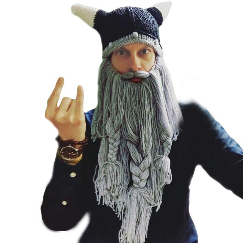 Homme Chapeau Tête Barbare Vagabond Viking Barbe Bonnet Corne Chapeaux À La Main Tricot Hiver Chaud Fête Cool Drôle Cosplay casquette