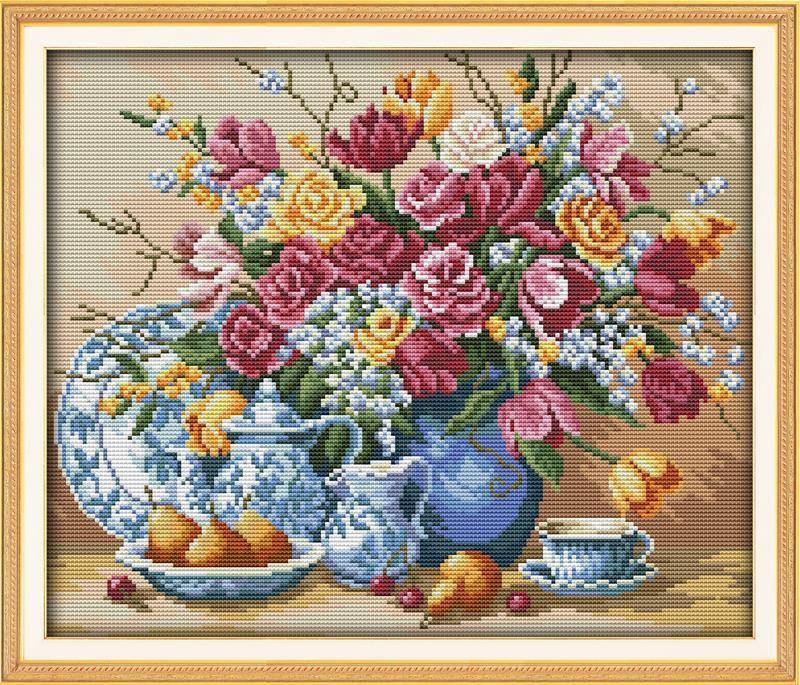 BRICOLAGE Artisanat Couture Assiette De Fruits et Vase Fruits Et Fleurs Décor À La Maison Peintures DMC point de Croix Compté Kits pour Broderie