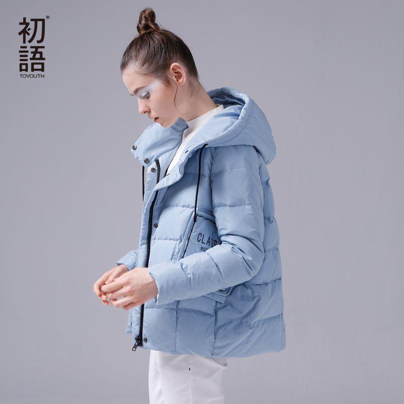 Toyouth Ultra Light Down Coats White 80% Duck Down Jacket Women Hooded Short Parkas Winter Big Pockets Down Parkas Letter Coat