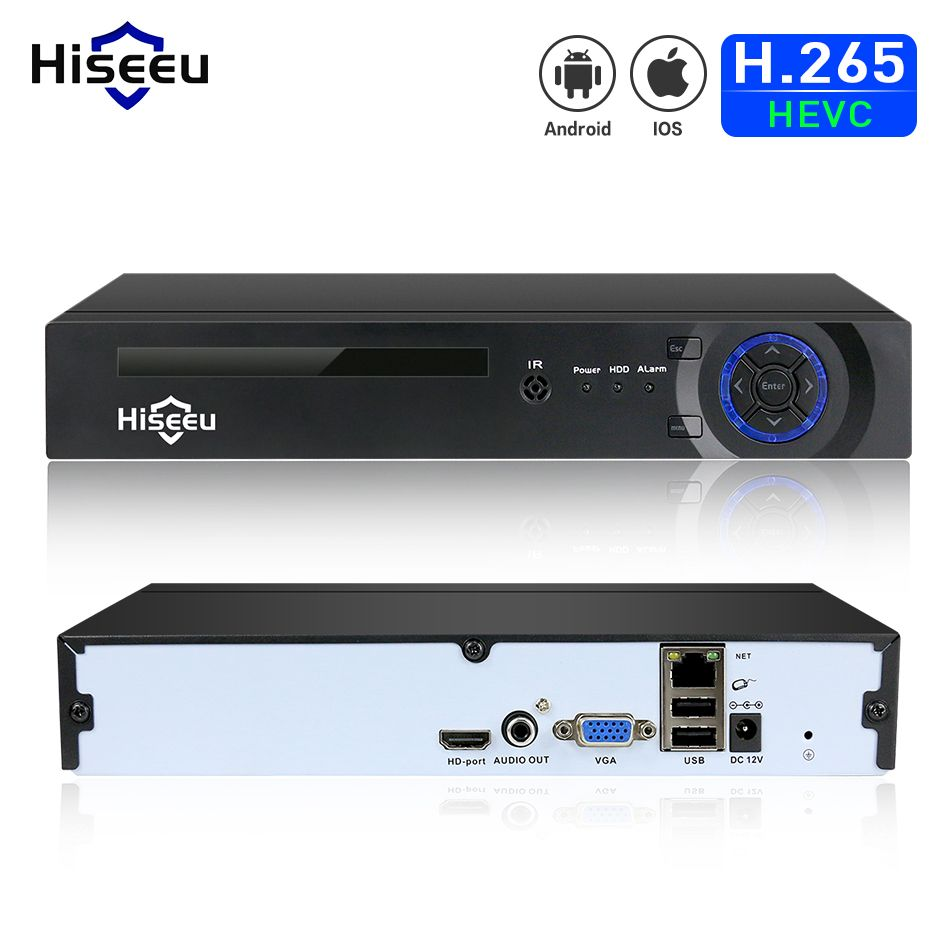 Hiseeu H.265 HEVC 4CH 8CH CCTV NVR for 5MP/4MP/3MP/2MP ONVIF 2.0 IP Camera metal network video recorder P2P for cctv system