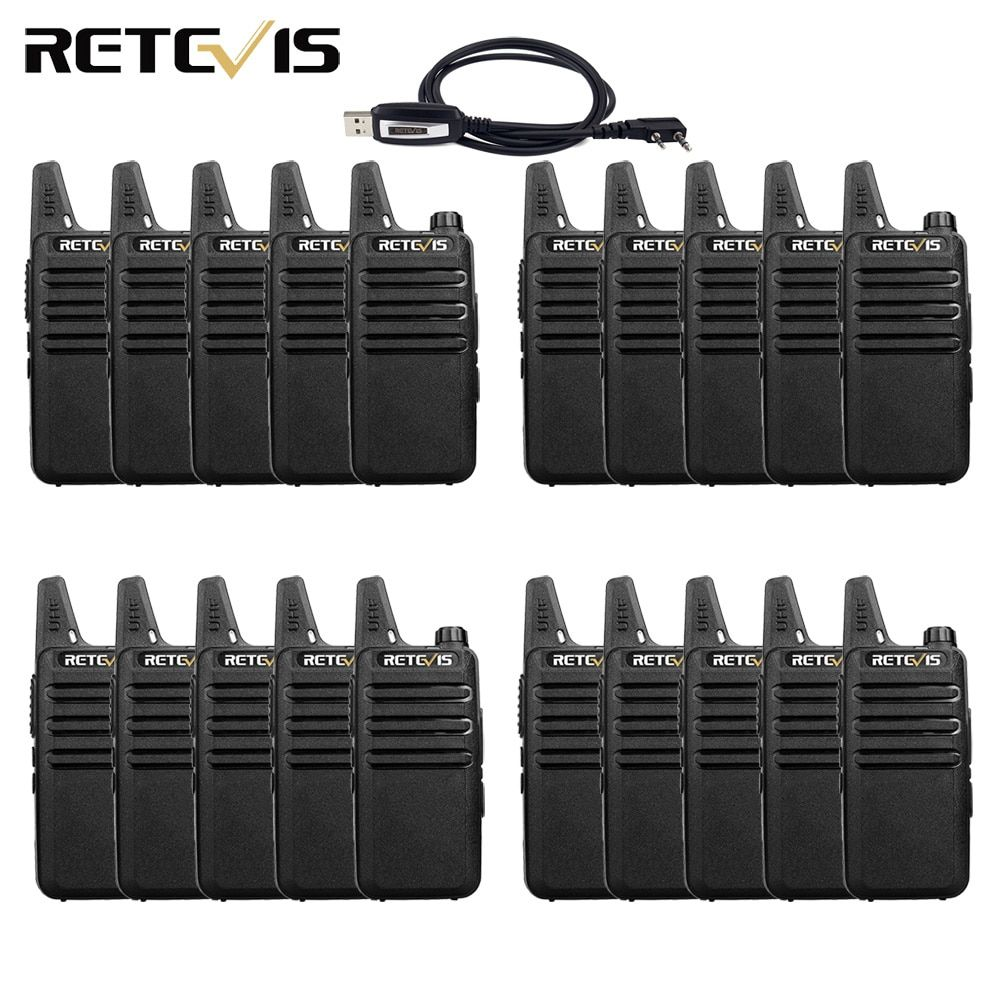20pcs Mini Walkie Talkie Retevis RT22 Extreme Ultra-thin 2W UHF VOX Ham Radio Hf Transceiver Two Way Radio Station