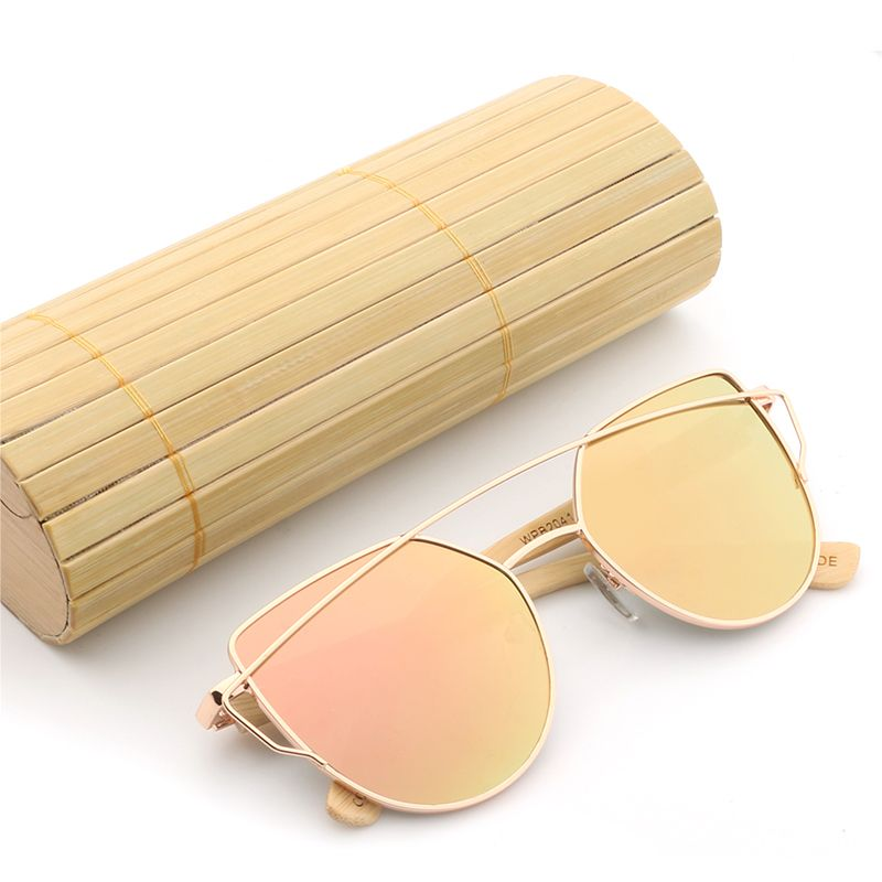 Fashion Women Cat Eye Mirror Sunglasses Rose Gold Super Star Bamboo Wood Sun glasses Polarized UV400 lens,come with Bamboo case
