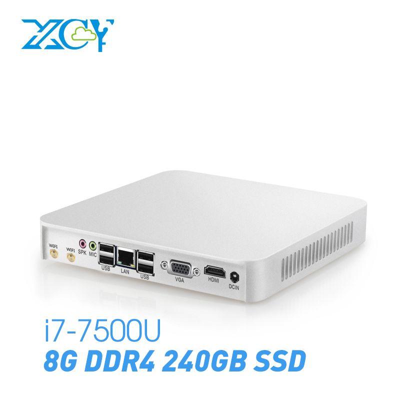 XCY Mini PC Intel Core i7-7500U 8 gb DDR4 240 gb SSD Windows 10 Linux 4 karat HDMI VGA 300 mt wiFi Gigabit Ethernet 6 * USB Box PC