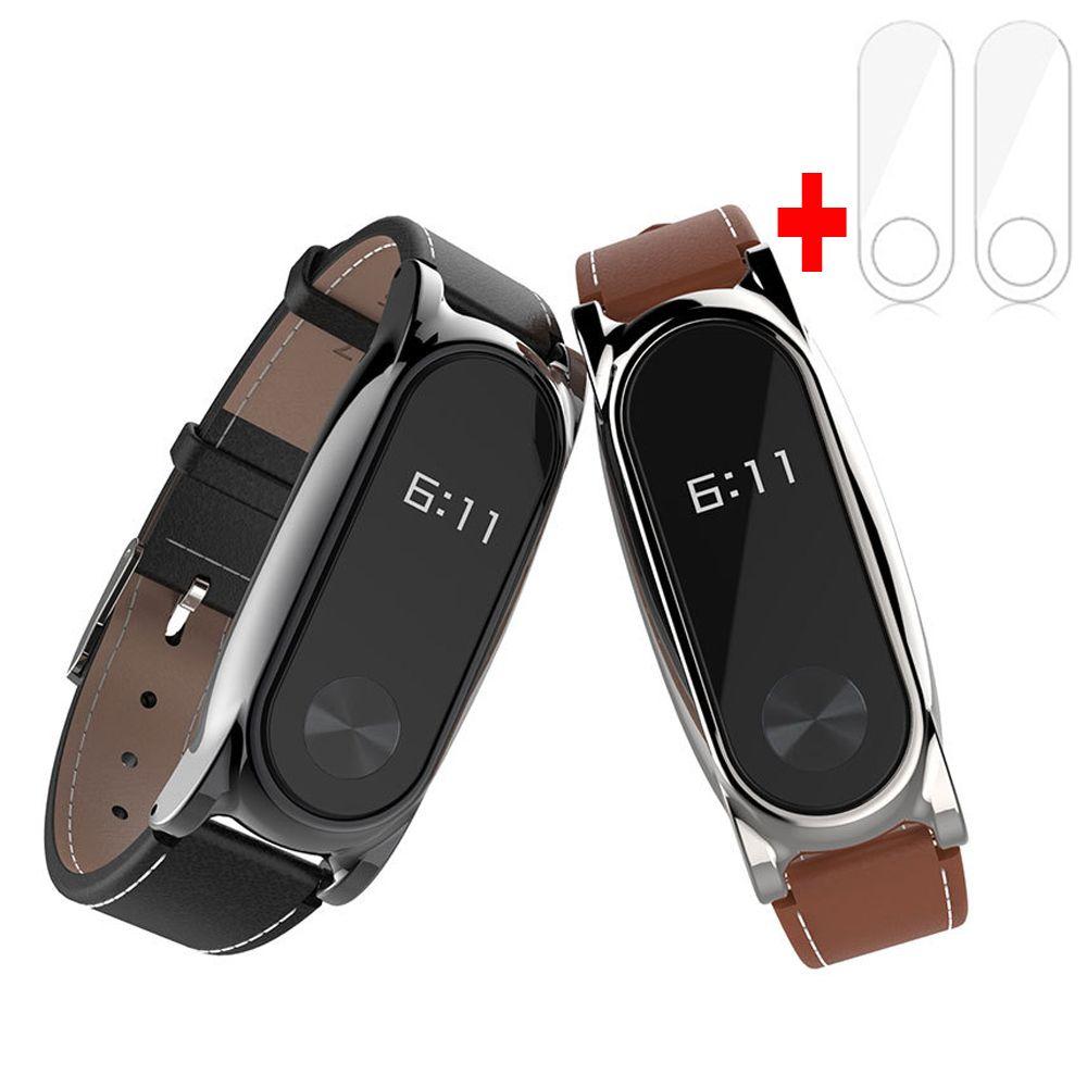 Neue Version Original Mijobs Lederband Für Xiaomi Mi Band 2 Metall Leder Schraubenlose Armbänder Ersetzen Armband Für MiBand 2