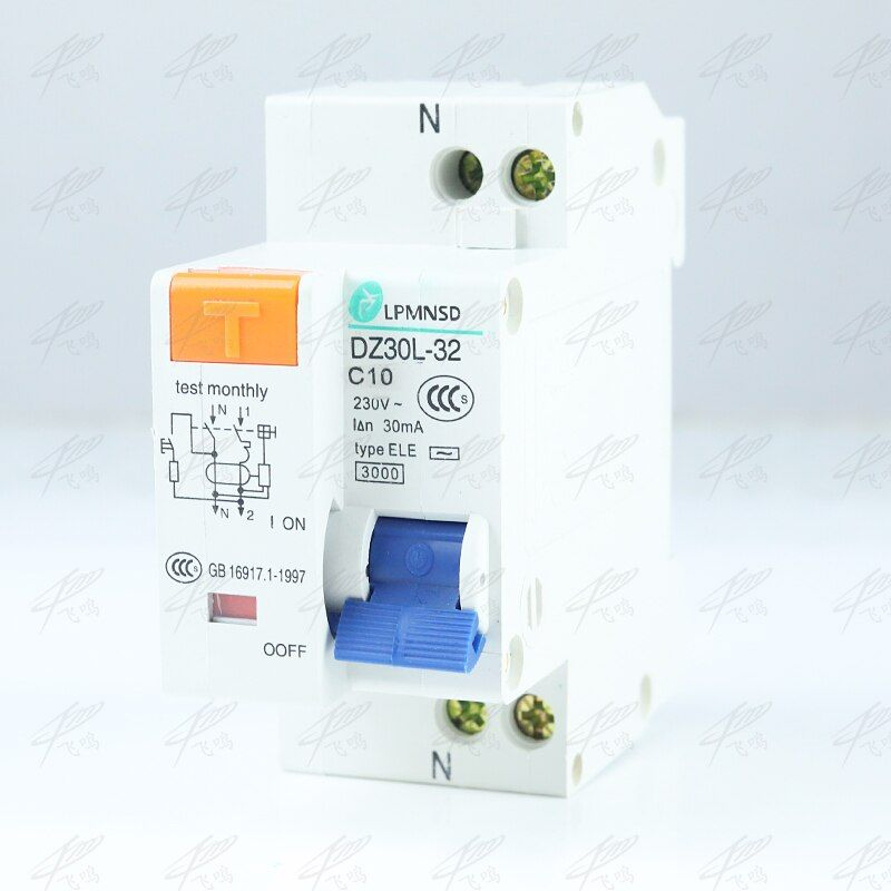 DZ30LE-32 1P+N 10A 16A 20A 25A 32A 230V 50/60HZ Residual Current Circuit Breaker With Over Current Leakage Protection
