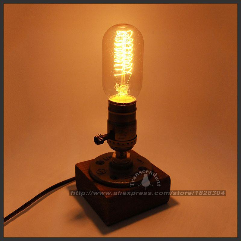 Rétro café Table lampe bois Vintage bureau lampe Dimmable 40 W Edison ampoule 220 V chambre Bar Table lumière bureau lumière en bois