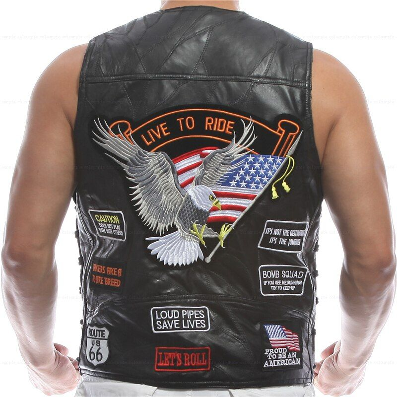 Weste Leder Männer Stickerei Weste Halley Motorrad Reiten Punk Hip hop Schafe haut Wind proof wärmerückhaltevermögen Belüftung *