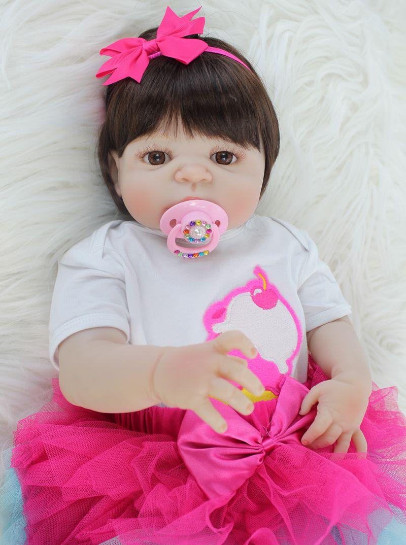 55cm Full Silicone Body Reborn Babt Doll Toy Vinyl Newborn Princess Babies Girl Bonecas Bebe Doll Alive Bathe Toy Play House Toy