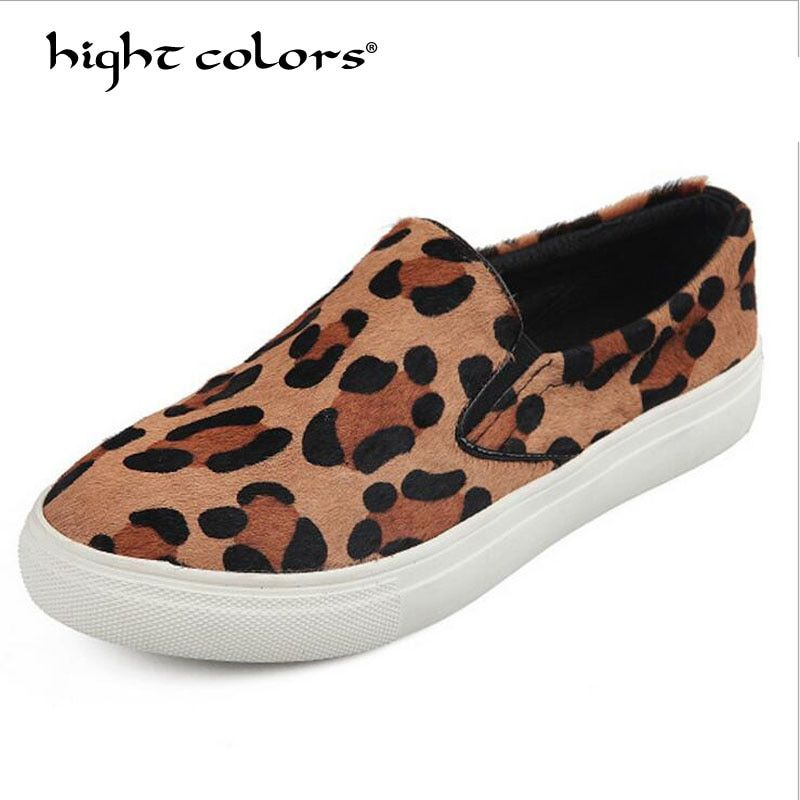 Lady Plus size 35~40 Spring 2018 Casual Flats Leopard Horsehair leather Round toe Women Flat Platform Slip-On Shoes L808