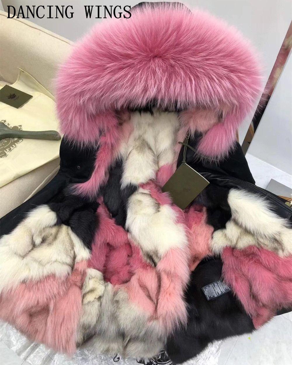 Genuine Raccoon Fur Collar Hooded Long Casual Parkas Women Winter Real Fox Fur Lining Coat Jacket Thick Warm Multi Color