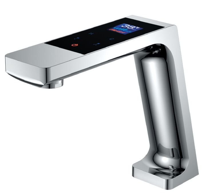 Digital basin faucet with LED display thermostatic touch faucet basin mixer tap touch basin taps Show with water flow