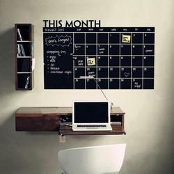 92*60 cm meses Calendarios pizarra Pizarras Planner extraíble Adhesivos de pared tablero negro Oficina pared de vinilo pegatinas