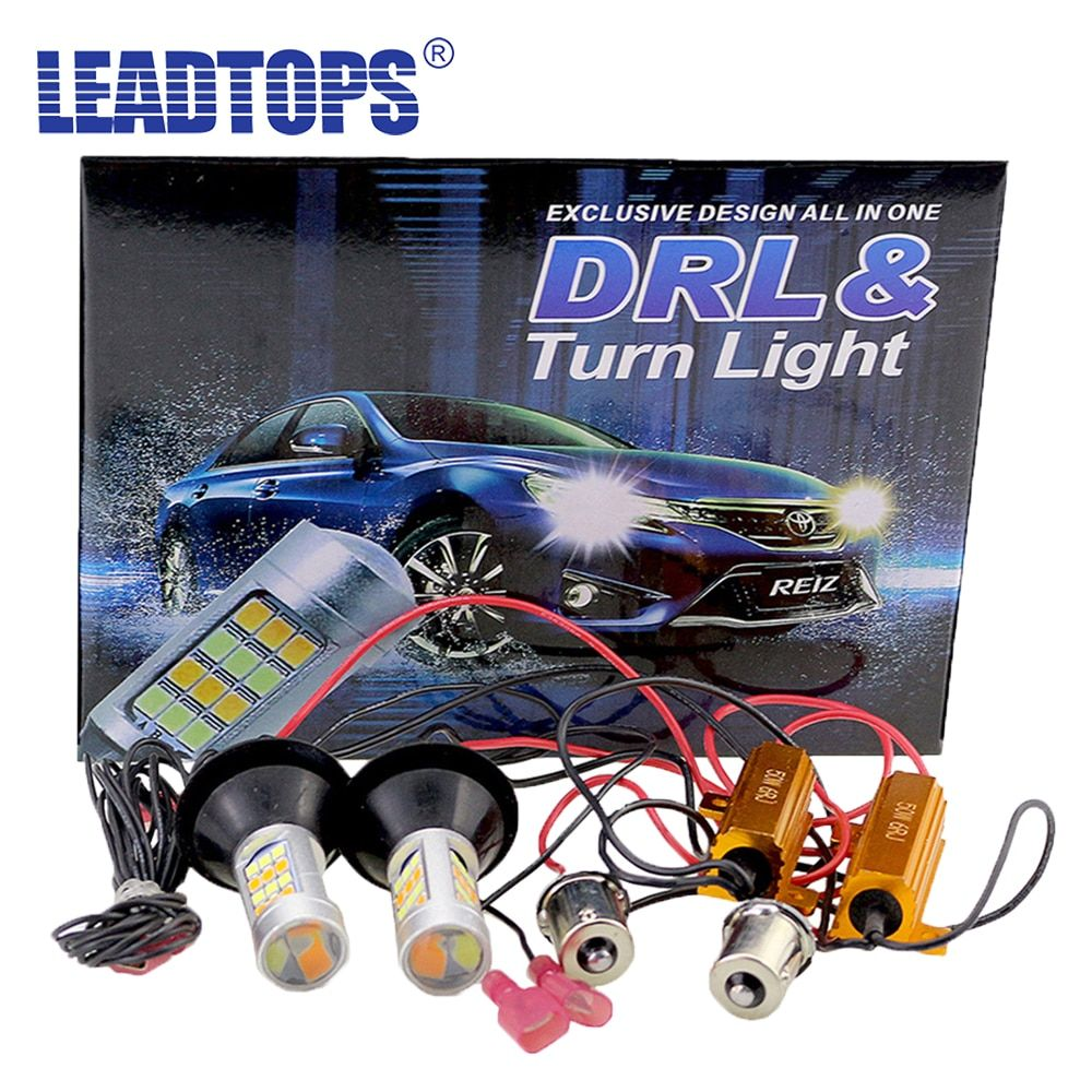 LEADTOPS T20 Led 42 Light High Power Daytime Running Light+Turn Signal DRL Dual Mode 1156 T20 7440 WY21W LED Running Lamps BE