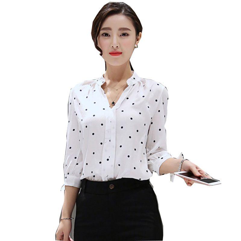 Женская рубашка v-образным вырезом Блузки женские 2017 женские топы и блузки Большие размеры feminino точки блузка хлопковые Блузы mujer Женская