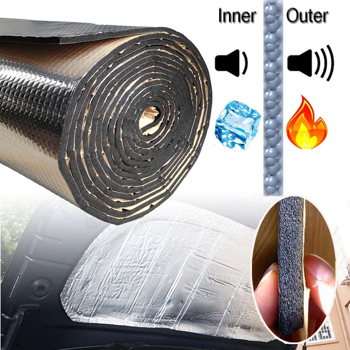 140cm x100cm Car Hood Engine Firewall Heat Mat Deadener Sound Insulation Deadening Material Aluminum Foil Sticker