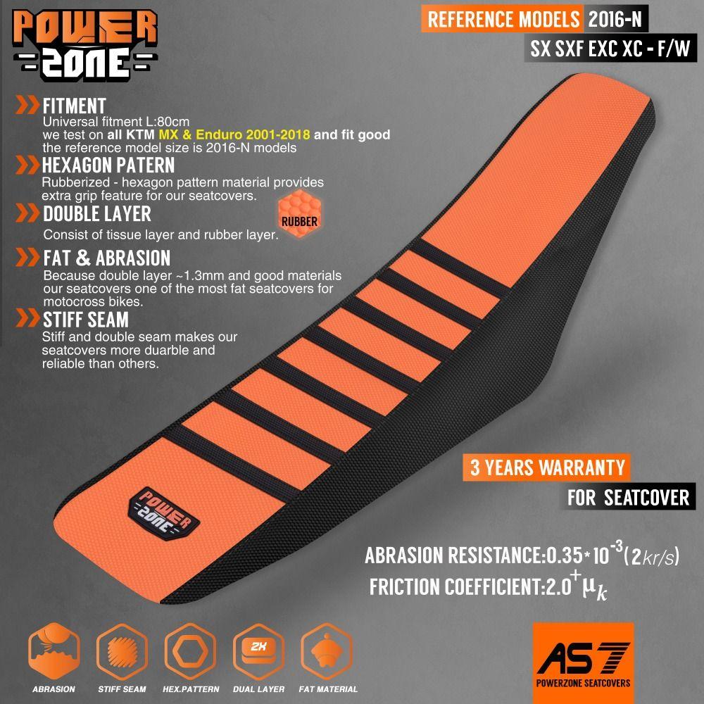 Powerzone Rib Ribbed Gripper Seat Cover For KTM SX XC EXC XC-W SX-F 125 150 250 300 350 450 500 Motorcross MX dirt bike Enduro