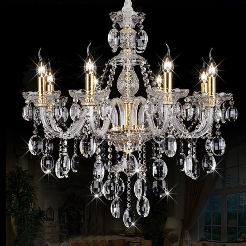 Modern Crystal Chandelier with 8 Lights Living Room Hanging Lamps Indoor Lighting Luxury Lustre Spiral Stairs K9 Crystal lamp