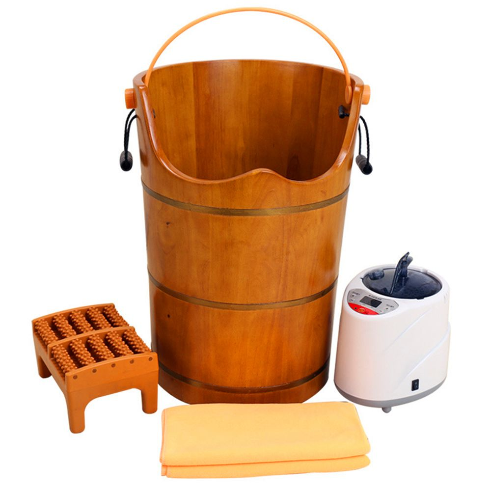 Holz Sauna Dampfbad Massivholz Blase Fuß Barrel Fuß Badewanne Gedämpfte Füße Dampf Generator Körperpflege Geräte Home Spa
