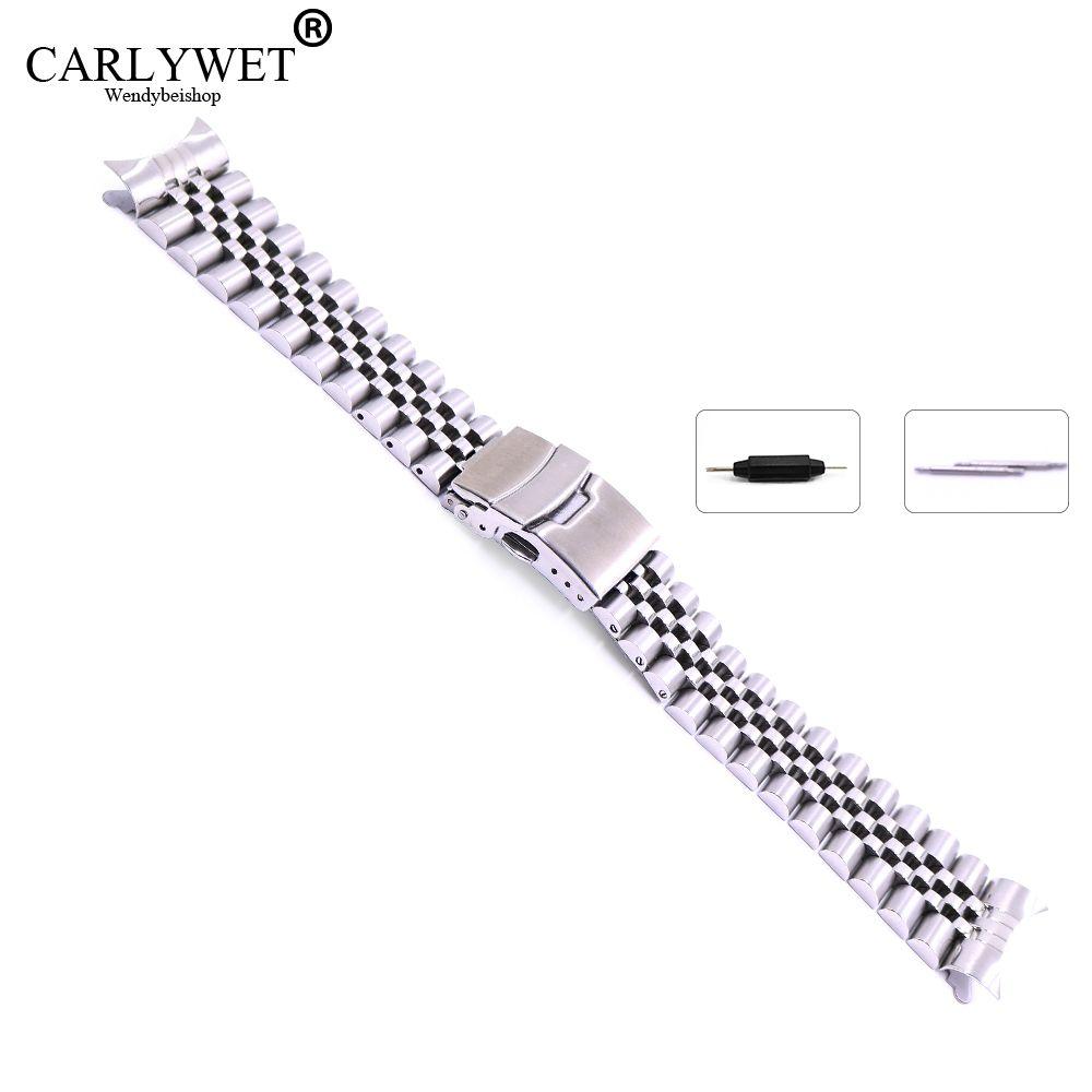 22mm Creux Curved End Solide Vis Liens Acier Inoxydable Argent Montre de Courroie De Bande Vieux Style Jubilé Bracelet Double Poussoir fermoir