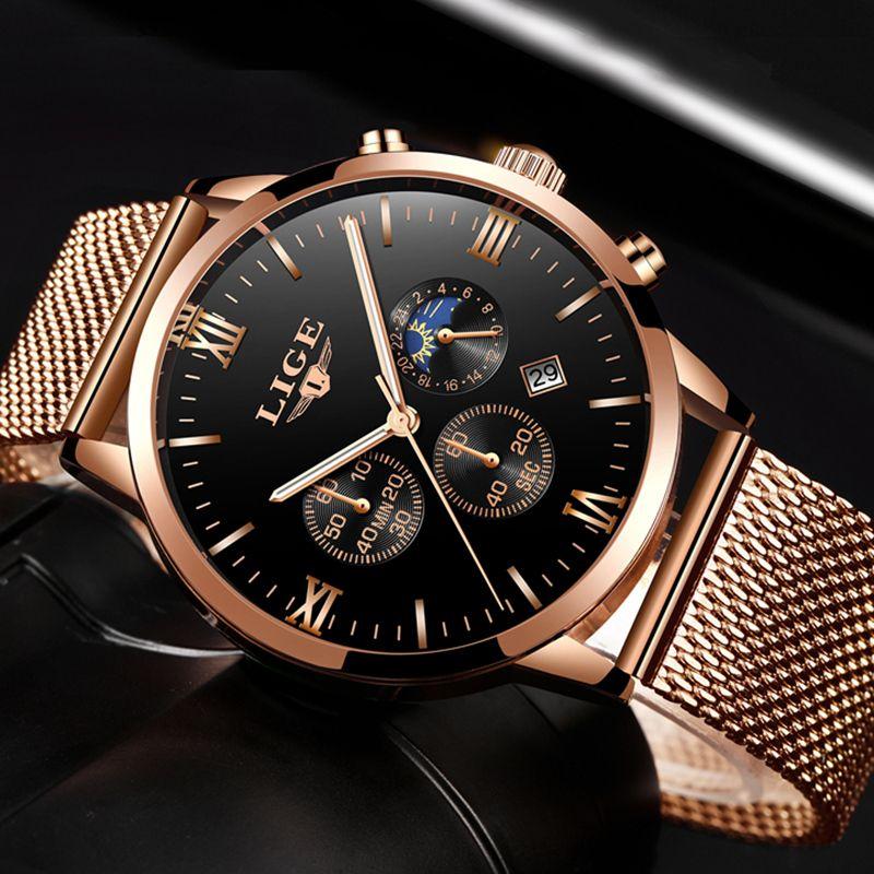 LIGE Top Luxury Brand Ultra-thin Business Quartz Watch Men's Casual Mesh Steel Gold Waterproof Sport Watch Man Relogio Masculino