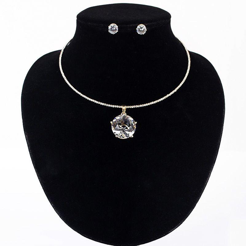 Cristal aretes collar de sistemas de la joyería de diamantes de imitación mujeres oro/color plata collar aretes collar de la joyería set