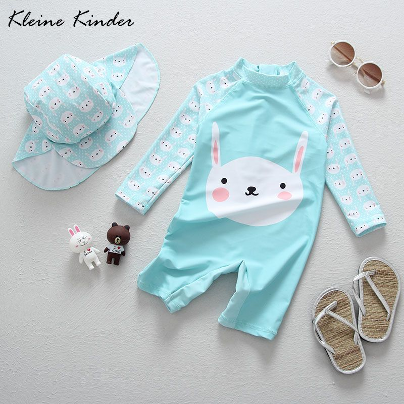 Baby Bademode Lange Hülse Ein Stück Overalls Cartoon Kaninchen Blau Kleine Mädchen Badeanzüge Badeanzug Infant Babys Strand Tragen