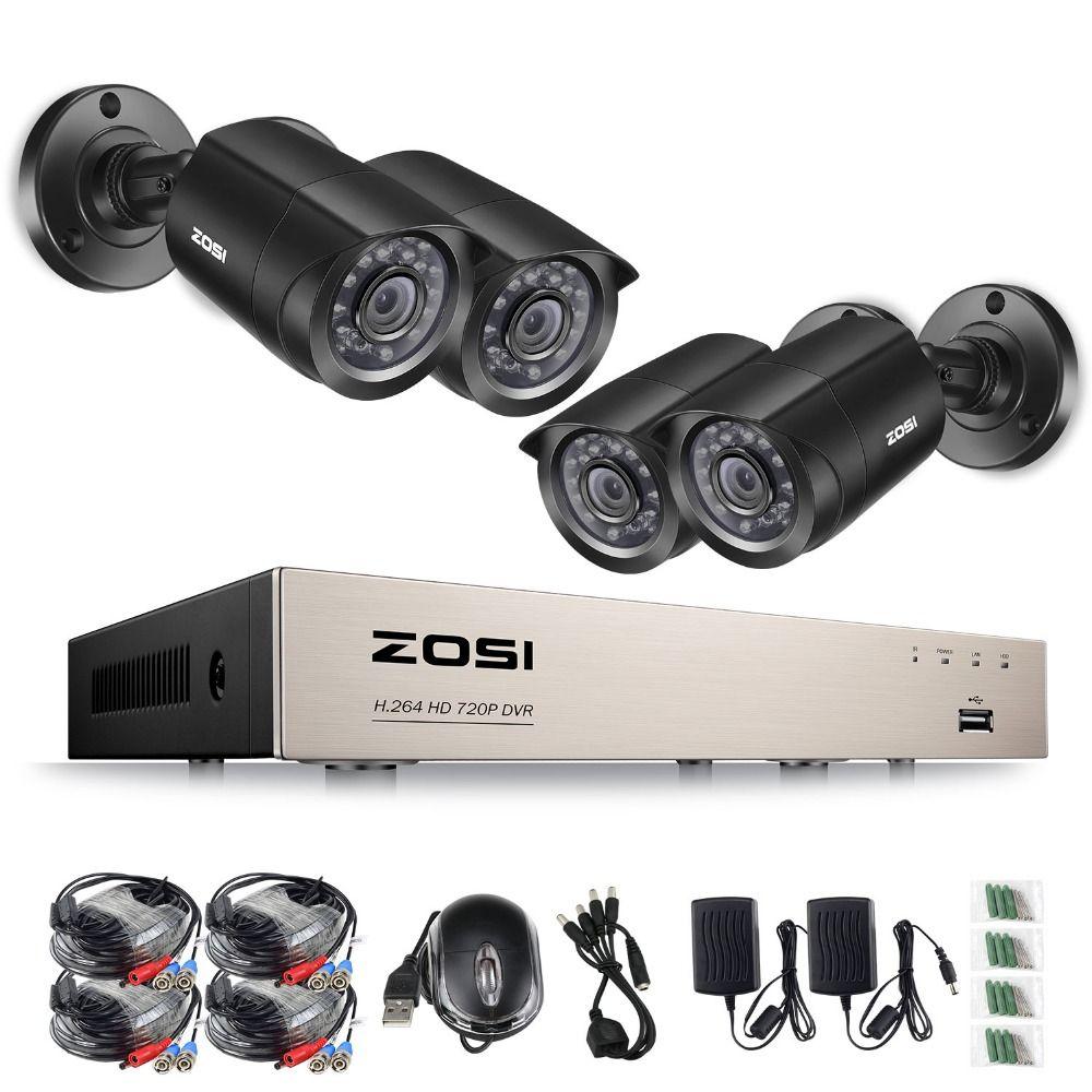 ZOSI 8CH HD-TVI 1080N Video DVR 4x Outdoor Indoor 720P Waterproof 1280TVL High Resolution Security Surveillance Camera System