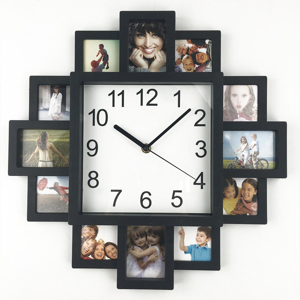 2018 New DIY Wall Clock Modern Design DIY Photo Frame Clock Plastic Art Pictures Clock Unique Klok Home Decor Horloge