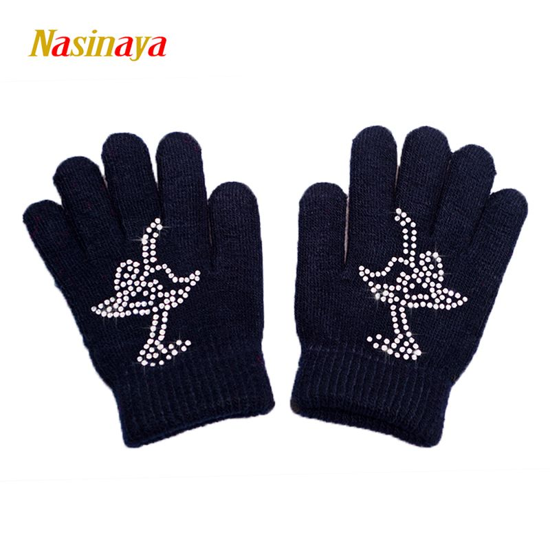 10 Colors Solid Magic Wrist Gloves Figure Skating Ice Training Gloves Warm Fleece Thermal Safety Child Adult Skater Rhinestone