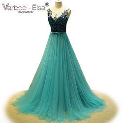 Robe de soiree longue 2018 emerald green abendkleider durchsichtig flügelärmeln tulle prom kleider frauen formale kleider