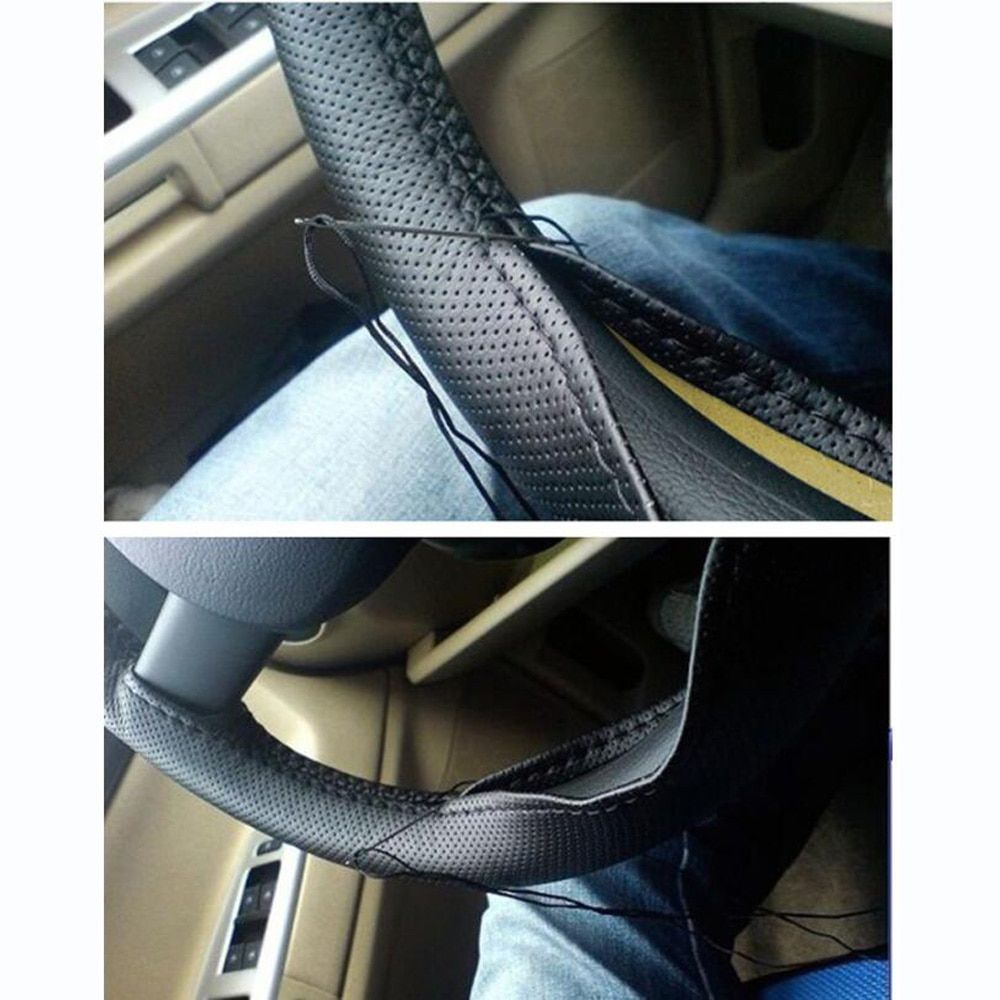 Car Styling Genuine Leather Auto Car Steering Wheel Cover Cap Anti-slip Car Decoration For Skoda Octavia A2 A5 For Renault clio