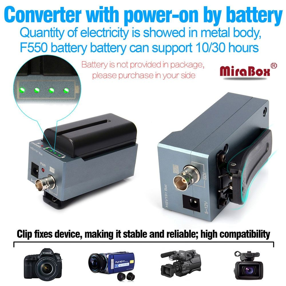MiraBox battery converter hdmi to sdi support 1080p 1080i full HD HDMI to SD-SDI/HD-SDI/3G-SDI BNC Adapter with Battery Charging